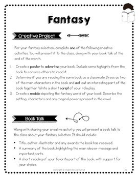 Book Report and Creative Activity Projects-Reading Genre Study