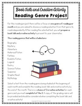 Book Report Distance Learning and Creative Activity Projects