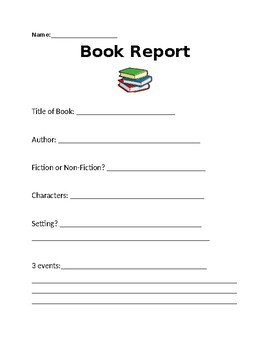 Book Report - characters, setting ,events