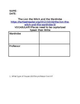 Book Report for Adapted Text-The Lion the Witch and the Wardrobe