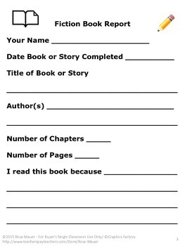 Book Report Common Core Response Form