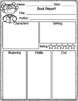 Book Report for Kindergarten and First Grade