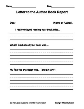 Book Report for Primary Grades.   Letter to the Author Book Report Format