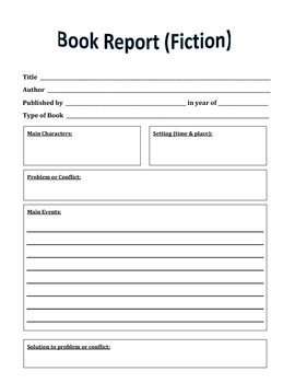 Book Report form (fiction)