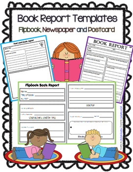Book Report or Story Elements Templates-Flipbook, Newspape
