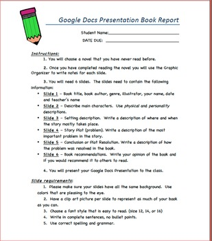 Book Report with Google Docs Presentation