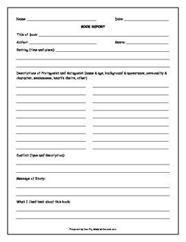 Book Report/Assessment Template