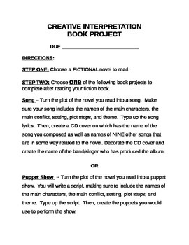 Book Report/Book Project- Creative Interpretation