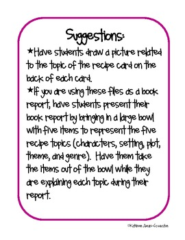 Book Report/Literature Circle Recipe Cards