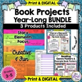 Book Projects & Book Reports, Genre Posters & Story Elements Flip Book -YEARLONG