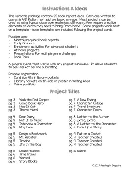 Book Reports:  Higher Order Thinking Projects