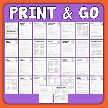 Book Reports with Project Choice Boards for 7 Genres Mystery Biography Fantasy +