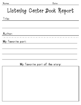 Book Reports for Kindergarten & First Grade