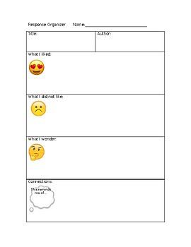 Book Response Emoji Graphic Organizer