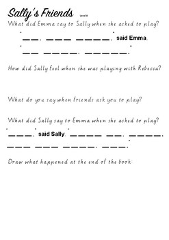 Book Response - Sally's Friends - Level 9