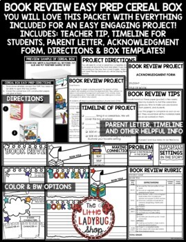 Book Review: Cereal Box Book Report Template- Book Club End of Year Project