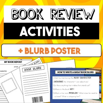 Book Review Activities  + 'How to Write a Great Blurb' Poster
