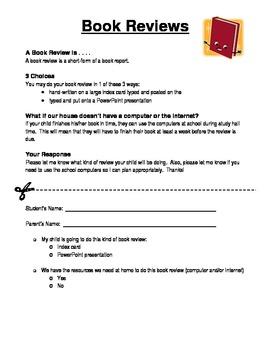 Book Review, Book Review Card Directions, Check Sheet, Gra