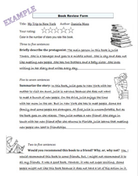 Book Review Form,Completed exmpl. included,Great graphic organizer 4 oral report