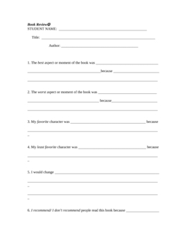 Book Review Form for High School Students