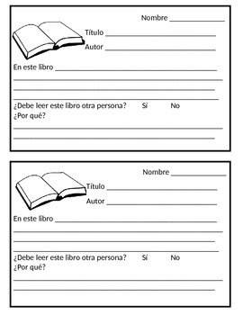 Book Review Form in Spanish