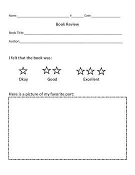 Book Review Graphic Organizer (K-1)