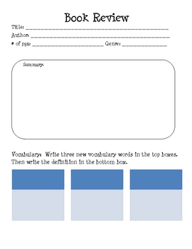 Book Review Graphic Organizer