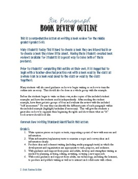 Book Review Lesson Plan & Graphic Organizer for the Middle Grades