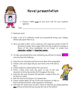 Book Report,  Novel Presentation