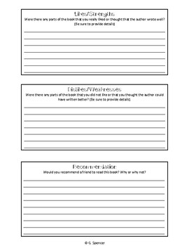 Book Review Planning Sheet
