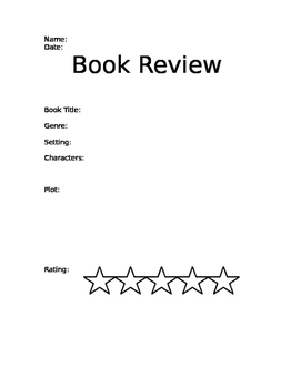 Book Review Printable: Perfect for Classroom Book Challenges!