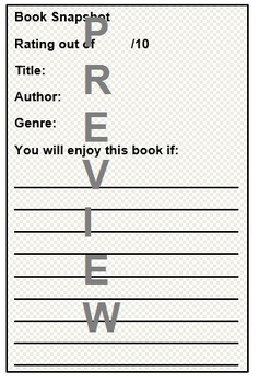 Book Review - Quick Peer Book Recommendations Template for Year 2-7 Students