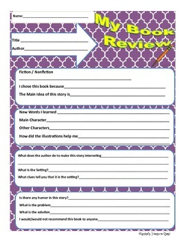 Great Book Review Sheet