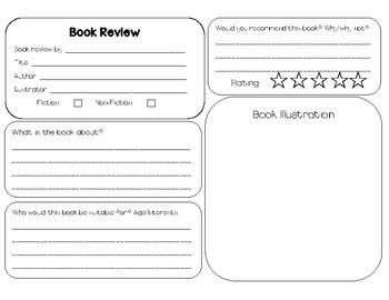 Book Review Template By Miss Hood Teachers Pay Teachers