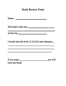 Book Review Template All Ages