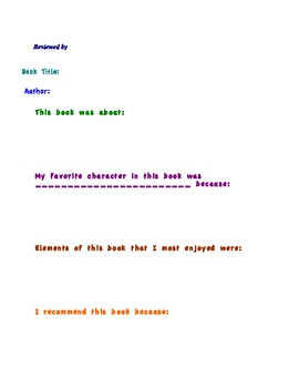 Book Review Template, Bright Colors!
