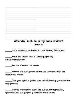 Book Review Template and Checklist