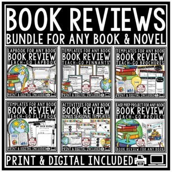 Book Review Templates BUNDLE: Lapbook, Flipbooks, Digital Book Report Templates