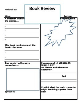 Book Review Templates Grades 2-6
