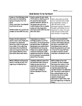 Creative Book Review Tic Tac Toe Board