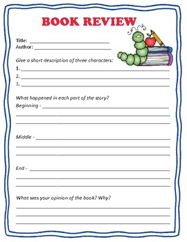 Book Review Worksheet!