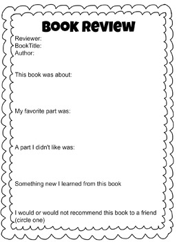 Book Review Worksheet