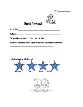 Book Review Worksheet
