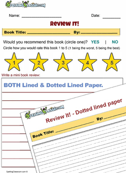 Book Review Worksheet Activity for Any Book!