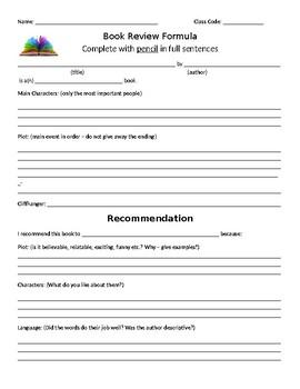 Book Review Worksheet - Editable