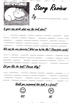 Book Review Worksheet for 'There is a Hippopotamus  on my roof eat cake!'