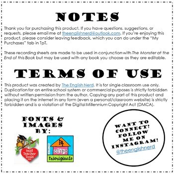 Book Scavenger Hunt Recording Sheets: Can Be Used for ANY Book