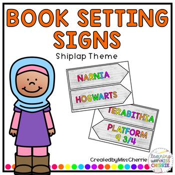 Book Setting Signs (Shiplap Theme) EDITABLE