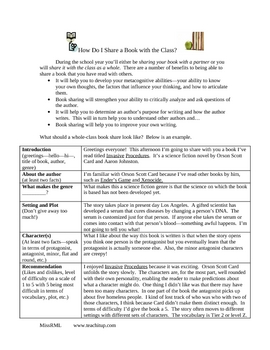 Book Share Example and Response Organizer Assessment Tool