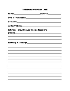 Book Share Information Sheet